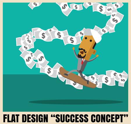 business arabman ride surfboard on banknote stream cartoon vector format eps 10