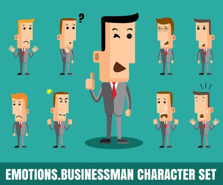 Illustrazione di uomo d'affari che mostra facce diverse emozioni piatto formato disegno vettoriale eps 10