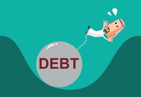 exchange loss: Business arabman burden with Debt illustration business vector file eps10 Illustration