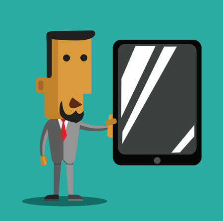 charactor: Charactor of  businessman with tablet