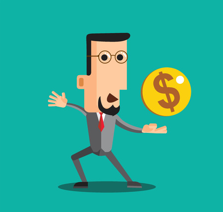 charactor: Charactor of businessman with dollar sign