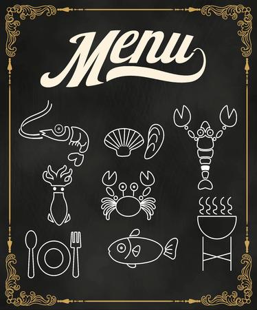 Restaurant seafood line icon menu on chalkboard