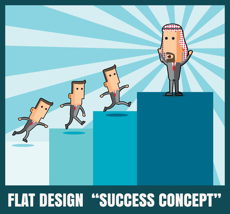 going up: Business arabman going up to top step of stairs.success concept