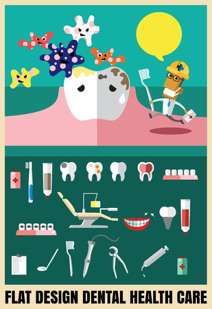 Medical flat icon illustration with dental health care