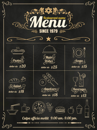 Restaurant Food Menu Design with Chalkboard Background format