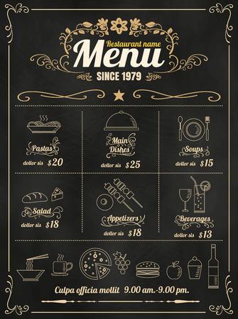 chalk board: Restaurant Food Menu Design with Chalkboard Background format Illustration