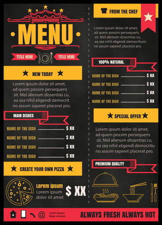 Brochure or poster Restaurant  food menu with Chalkboard Background format Illustration