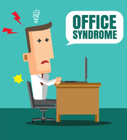 high tension: Office syndrome Infographics. health concept. infographic element. flat icons design illustration Illustration