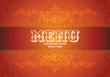 french board: vintage background abstract illustration orange and red tone menu Illustration
