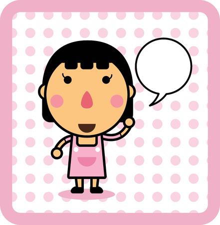 Cute cartoon meisje met tekstballon, ontwerp Kids. geïsoleerde illustratie Stock Illustratie