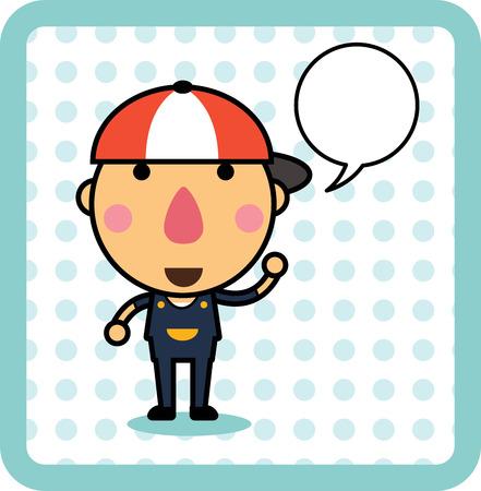 Cute cartoon boy with speech bubble,Kids design. isolated illustration
