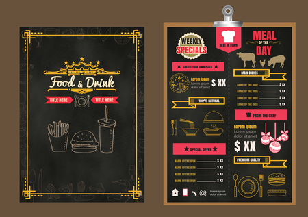 black: Restaurant Food Menu Design with Chalkboard Background Illustration