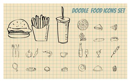Set van Doodle voedsel, fast food illustratie formaat Stock Illustratie