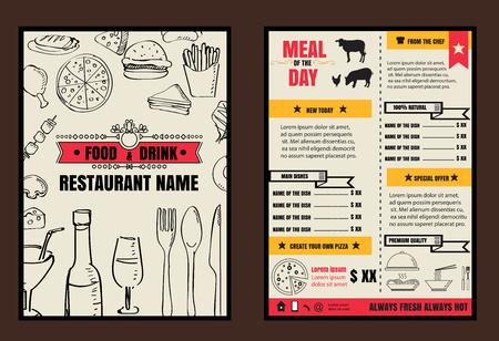 Brochure of poster menu van het restaurant eten met bordachtergrond Stock Illustratie