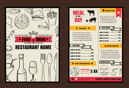 menu cover: Brochure or poster Restaurant  food menu with Chalkboard Background