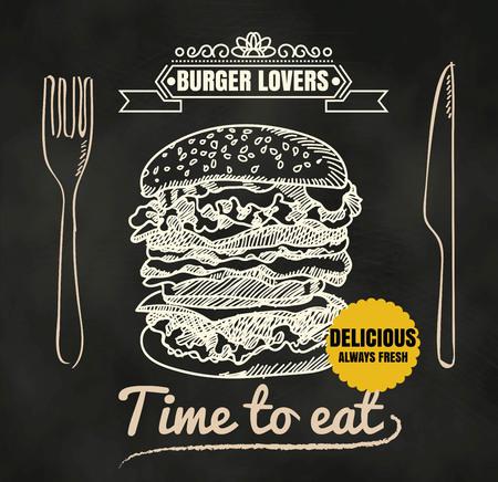 Restaurant Fast Foods burger menu on chalkboard vector format Vettoriali