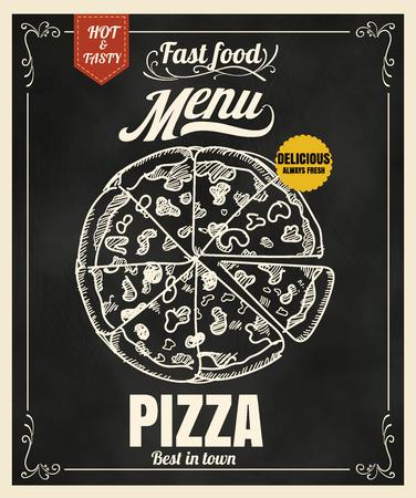 french board: Restaurant Fast Foods menu pizza on chalkboard  format