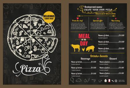 food dish: Restaurant Fast Foods menu pizza on chalkboard format Illustration