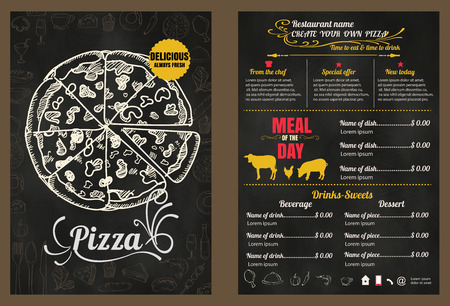 french food: Restaurant Fast Foods menu pizza on chalkboard format Illustration