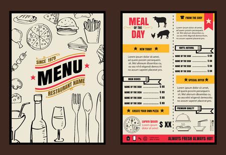 french board: Brochure or poster Restaurant  food menu with Chalkboard Background format Illustration