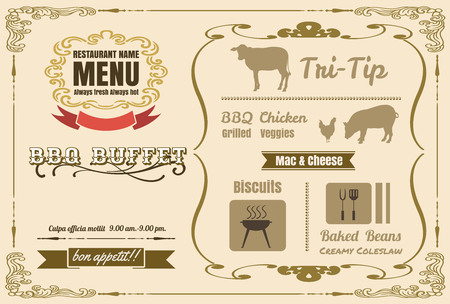 Vintage BBQ party menu poster design with meat, beef. chicken ,pork