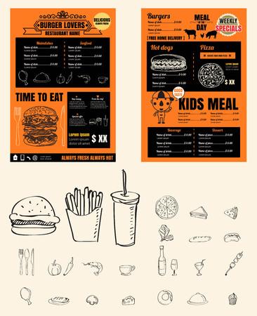 Restaurant Fast Foods menu and kids menu vector