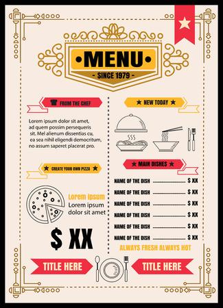 Brochure or poster Restaurant  food menu with vintage Background vector format eps10