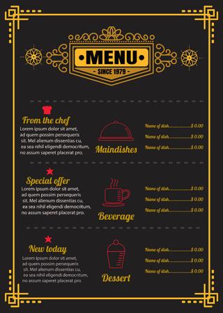 Brochure or poster Restaurant  food menu with Chalkboard Background vector format eps10 向量圖像