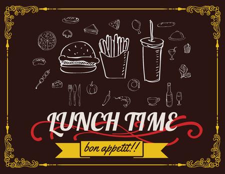 Lunch menu design vintage on chalkboard, restaurant design vector format eps 10