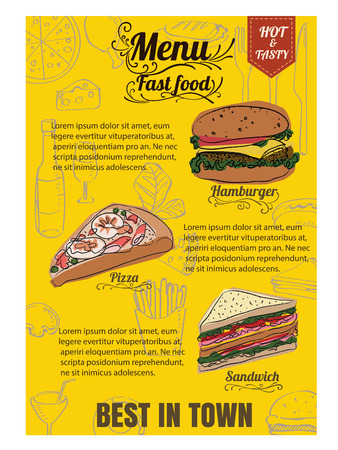 Restaurant Fast Foods menu  vector format eps10