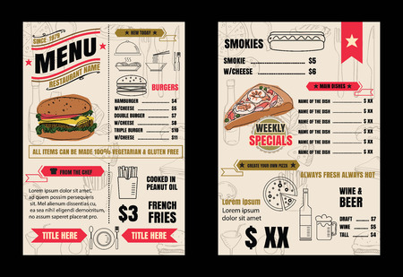 Restaurant menu design elements with chalk drawn food and drink icons line on blackboard vector format eps10