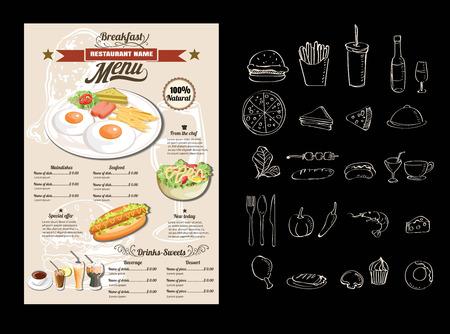 continental food: Vintage Poster. Breakfast menu.vector format eps 10