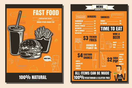 french board: Brochure or poster Restaurant fast foods burger menu with people vector format eps10