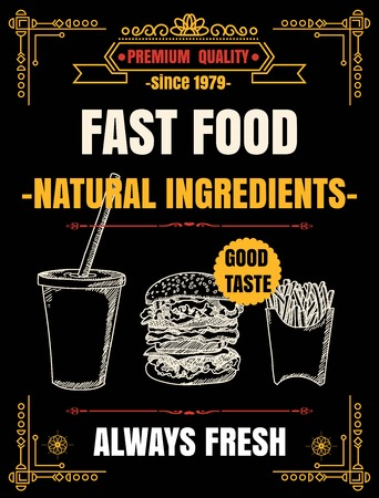 Vintage Poster.fast foodmenu. Set on the chalkboard.Design in retro style 向量圖像