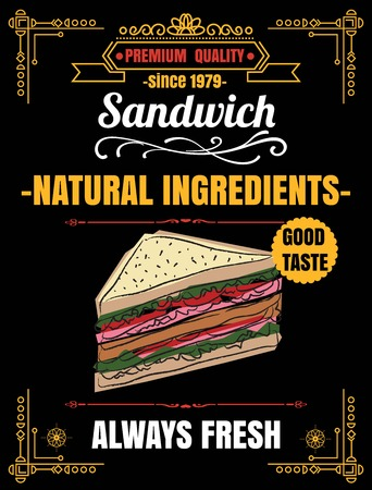 deli meat: Vintage Poster.sandwich menu. Set on the chalkboard.Design in retro style