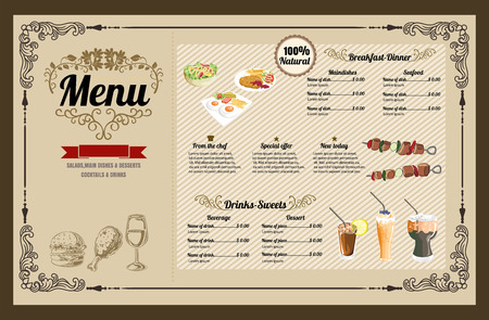 Restaurant Food Menu Vintage Design with Chalkboard Background vector format eps10 Illustration