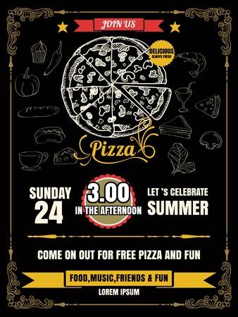 Vintage vector pizza party flyer invitation template design