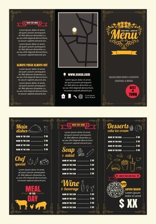 Vintage Restaurant menu design pamphlet vector template chalkboard in A4 size Tri fold