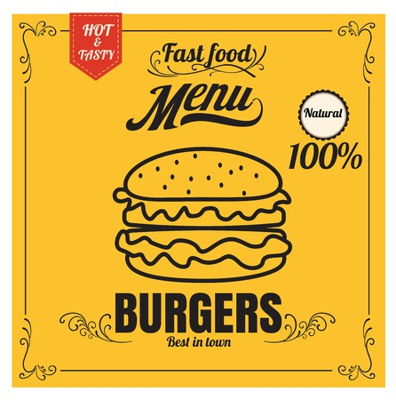 Restaurant Fast Foods menu burger on yellow background vector format eps10