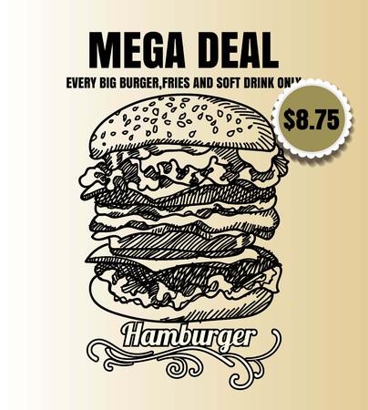 Restaurant Fast Foods menu burger on vintage background vector format eps10 向量圖像