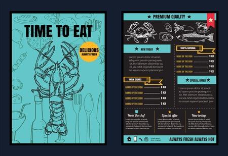 黒板背景ベクトル形式の eps10 とレストランのシーフード メニューをパンフレットやポスター  イラスト・ベクター素材