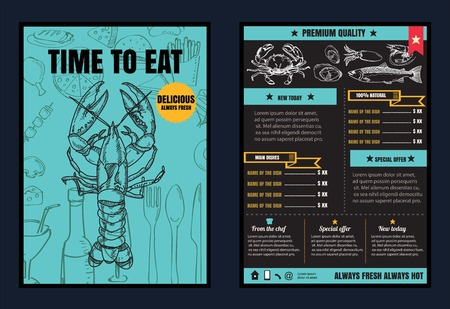 seafoods: Brochure or poster Restaurant  seafood menu with Chalkboard Background vector format eps10