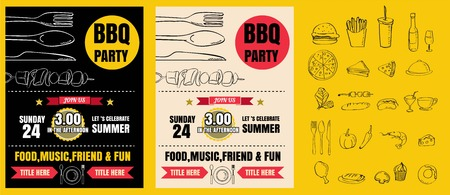 Barbecue party invitation. BBQ template menu design. Food flyer.vector format eps10
