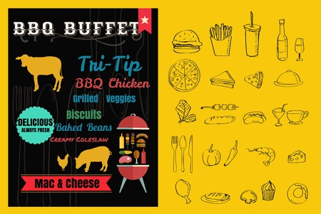 Vintage BBQ party menu poster design with  meat,pork, beef,chicken vector format eps10