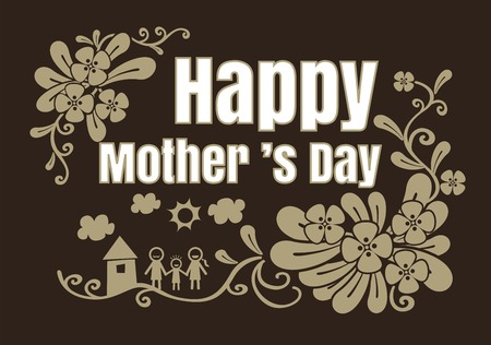 Beautiful Typographical on brown background With Hand Drawn Heart For mothers Day vector format eps10