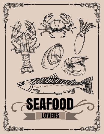Vector vintage seafood restaurant illustration. Hand drawn banner. Great for menu, banner, flyer, card, seafood business promote. 向量圖像
