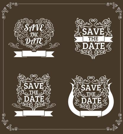 set of vector Save The Date, Wedding Invitation Vintage Typographic Design Elements On Chalkboard