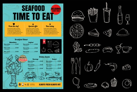 seafoods: Brochure or poster Restaurant  seafood menu with Chalkboard Background Illustration