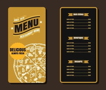 Restaurant Fast Foods menu on gold background vector format 向量圖像