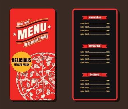 Restaurant Fast Foods menu on red vector format